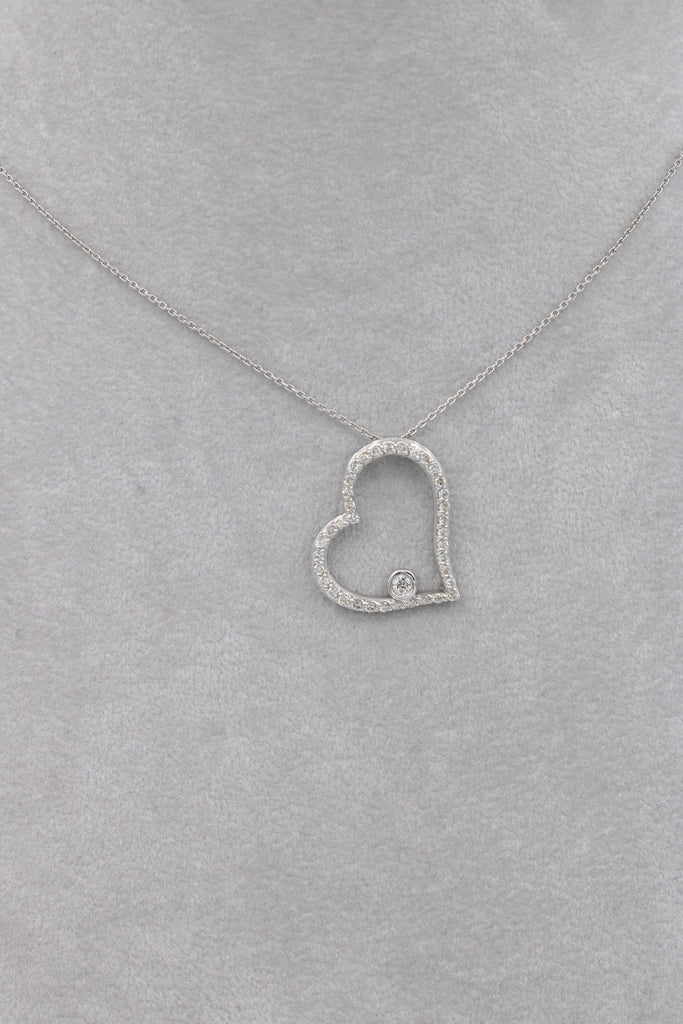 *NEW* 14k White Gold Lady Necklace 💎Diamonds❤️ Oval Heart ♥️ - JTJ™ - Javierthejewelernyc