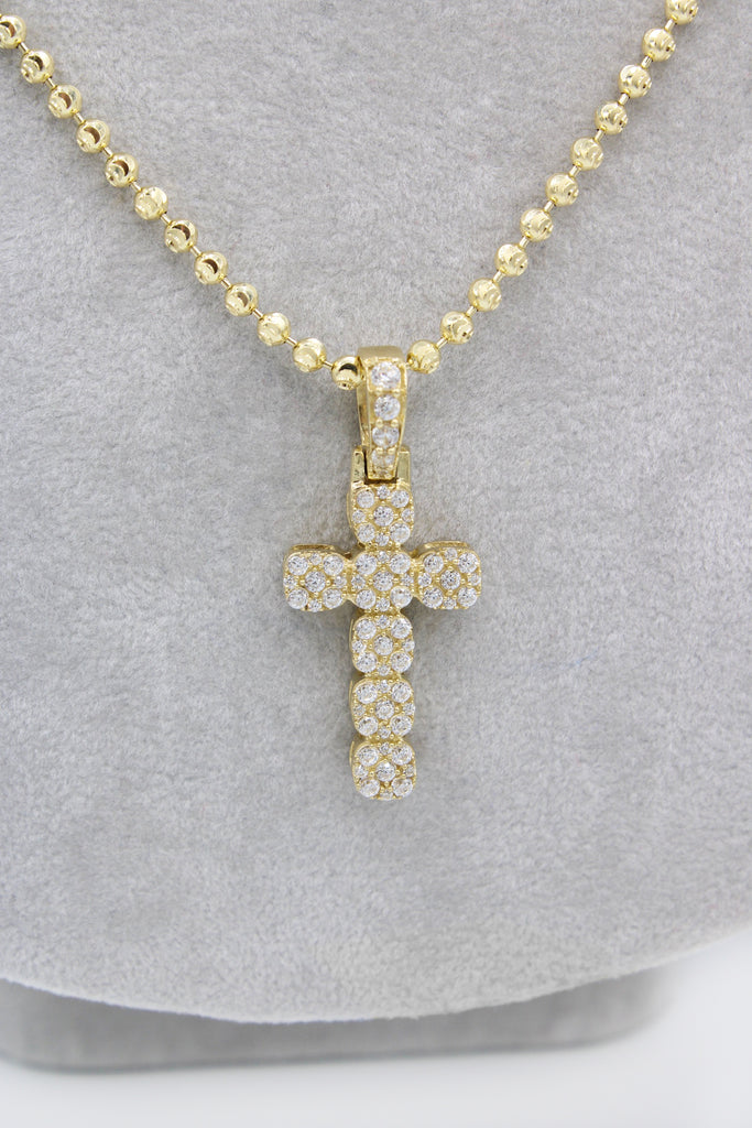 *NEW* 14K Moon Cut Chain W/ Cross Pendant  JTJ™ - - Javierthejewelernyc
