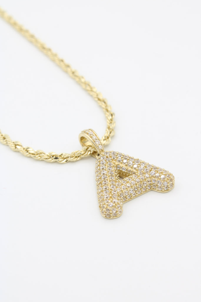 14K *NEW* Hollow Rope Chain W/ (A) Letter Pendant  JTJ™ - - Javierthejewelernyc