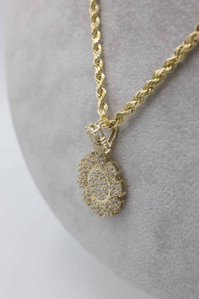 *NEW* 14K Money Flower Pendant W/ Rope Chain Hollow Included - JTJ™ - Javierthejewelernyc