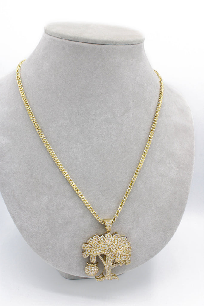 *NEW* 14K Hollow Franco Chain W/ Money tree Pendant  JTJ™ - - Javierthejewelernyc