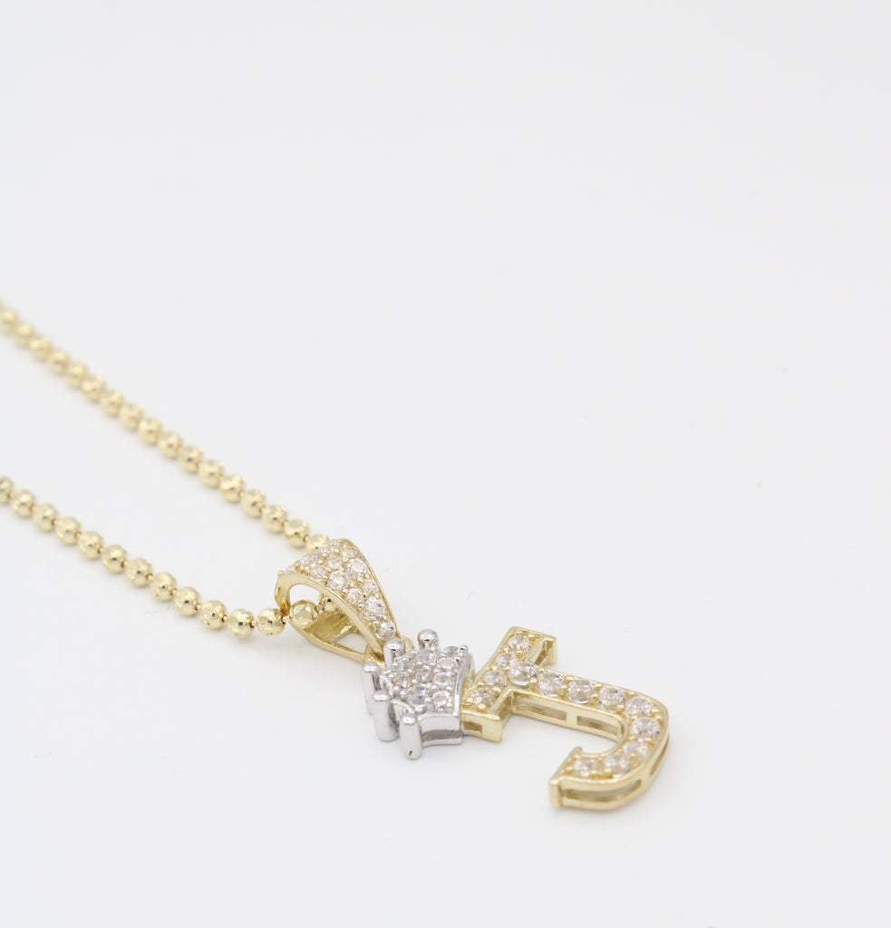 14K Initial (J) Pendant With Solid Moon Cut Chain JTJ™ - - Javierthejewelernyc
