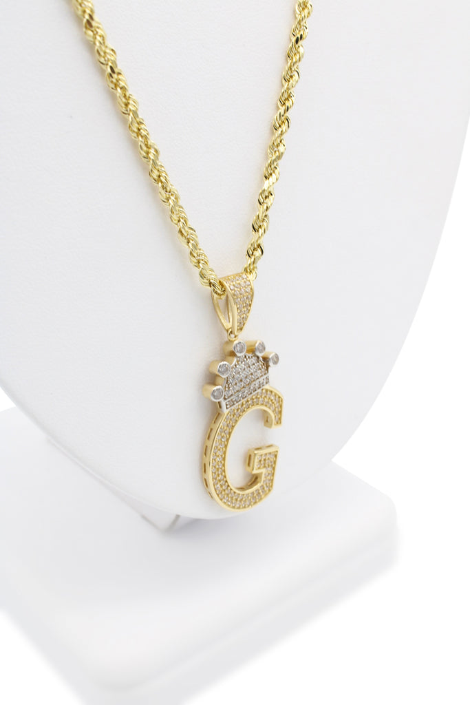 *NEW* 14k Hollow Rope Chain W/ Big Initial Pendant (G) Included-JTJ™ - Javierthejeweler
