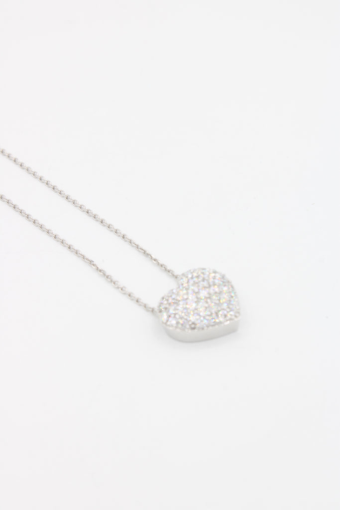 *NEW* 14k White Gold Lady Necklace 💎Diamonds❤️ Heart ♥️ - JTJ™ - Javierthejewelernyc