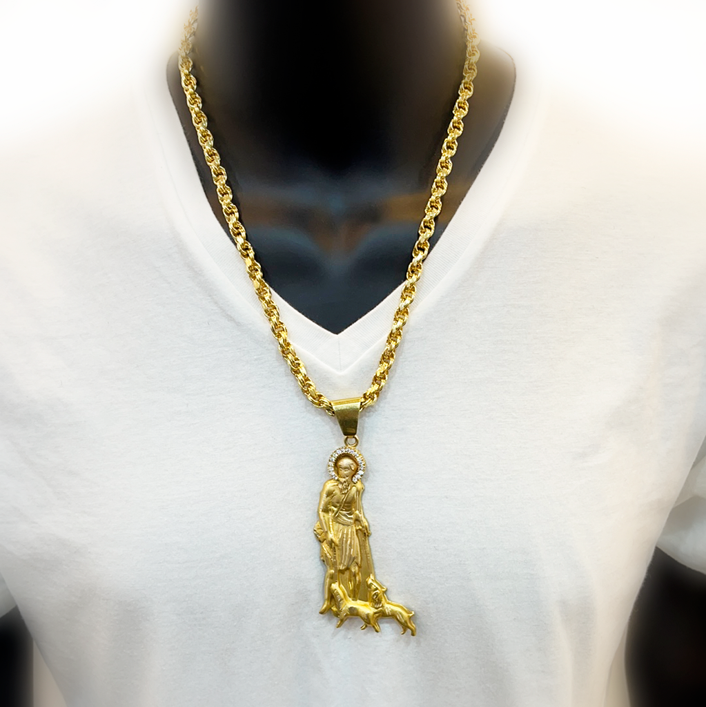 *NEW* 14k Hollow Rope Chain (Rollo) W/ Saint Lazarus JTJ™ - Javierthejewelernyc