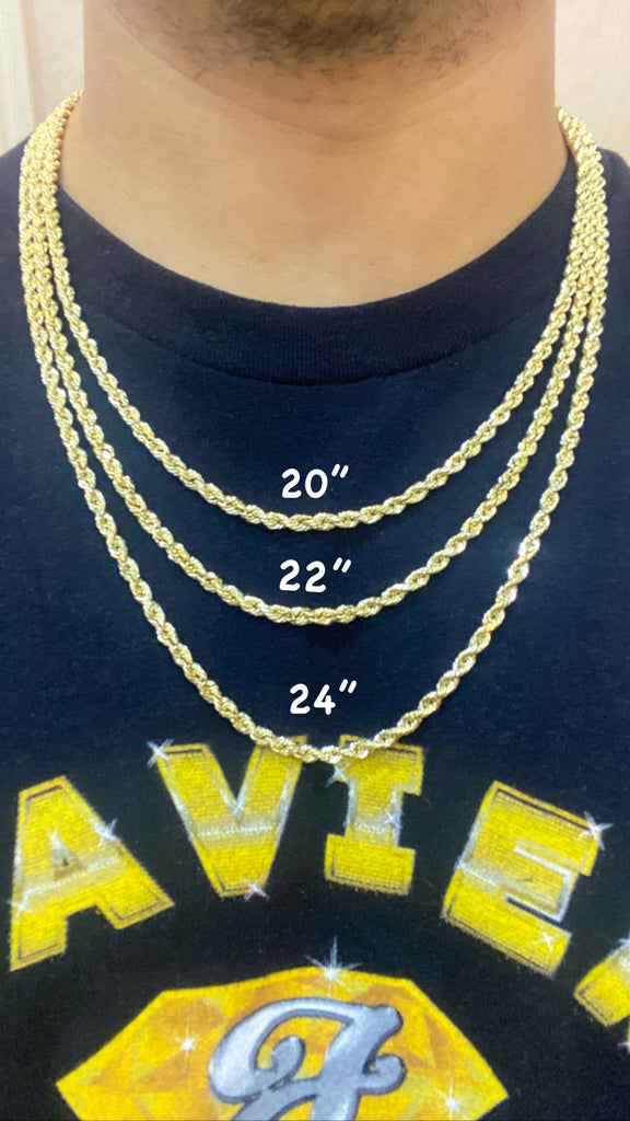 "*NEW* 14K Hollow Rope Chain (22"" Inches 3.9MM)- JTJ™ - Javierthejeweler"
