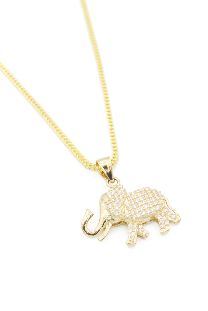 *NEW* 14k Elephant Pendant W/ Hollow Franco Chain Included JTJ™ - - Javierthejeweler