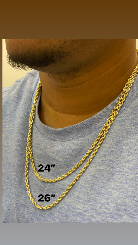 14K Gold Hollow Rope ChainJTJ™- - Javierthejewelernyc