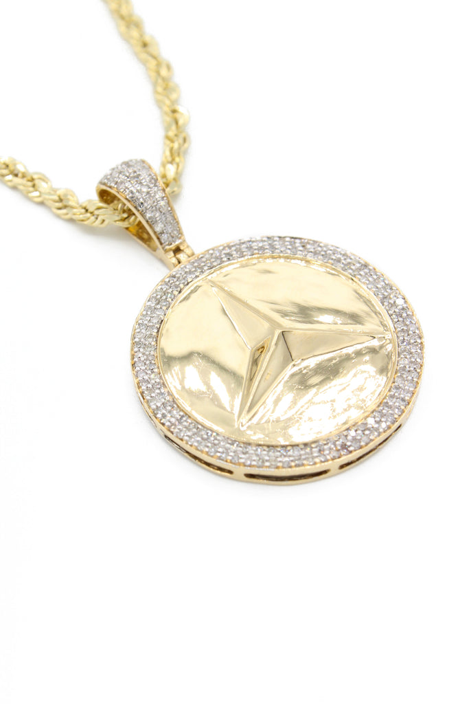 *NEW* 14K Hollow Rope Chain W/ Mercedes Diamond Pendant  JTJ™ - - Javierthejewelernyc