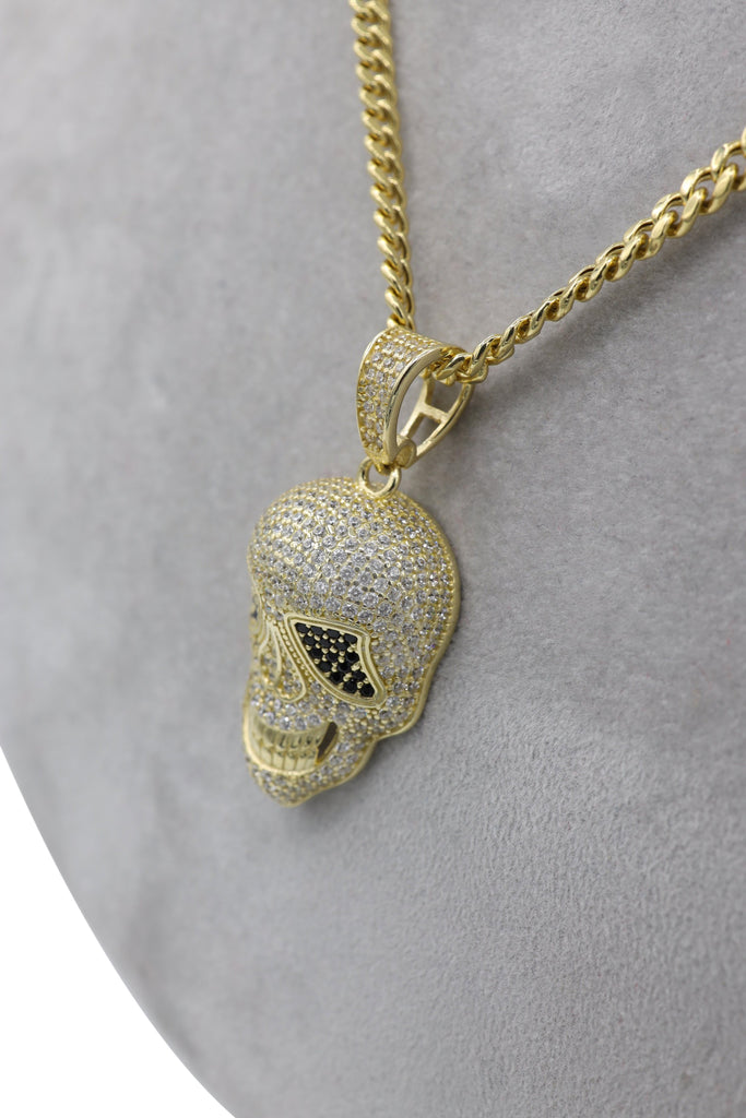 *NEW* 14K Hollow Cuban Chain W/ Skull Pendant JTJ™- - Javierthejewelernyc
