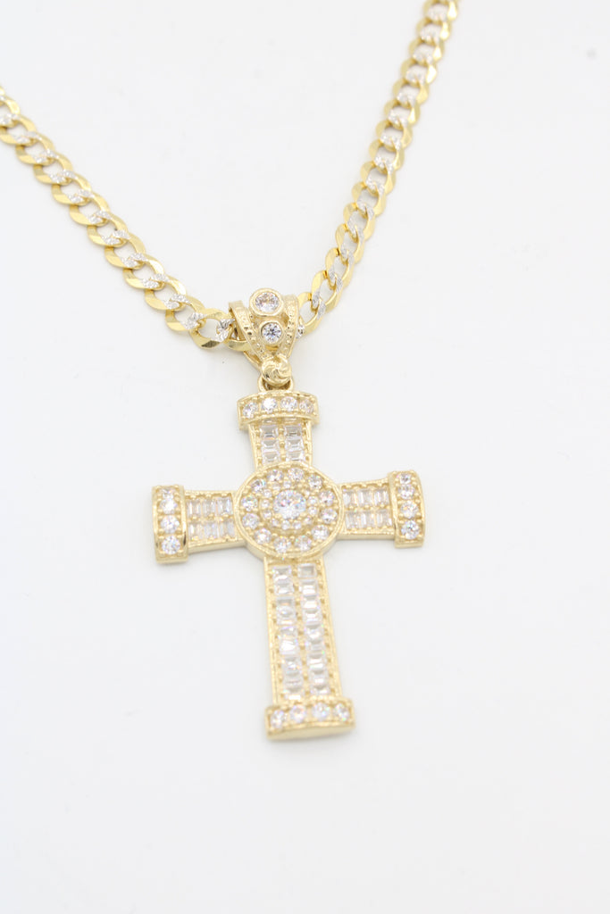 *NEW* 14k Cross Pendant W/ Cuban Two Tone Chain JTJ™ - - Javierthejeweler