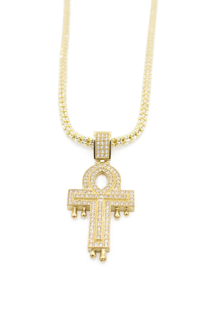 *NEW* 14k Cross Pendant With Moon Iced Chain JTJ™ - - Javierthejeweler