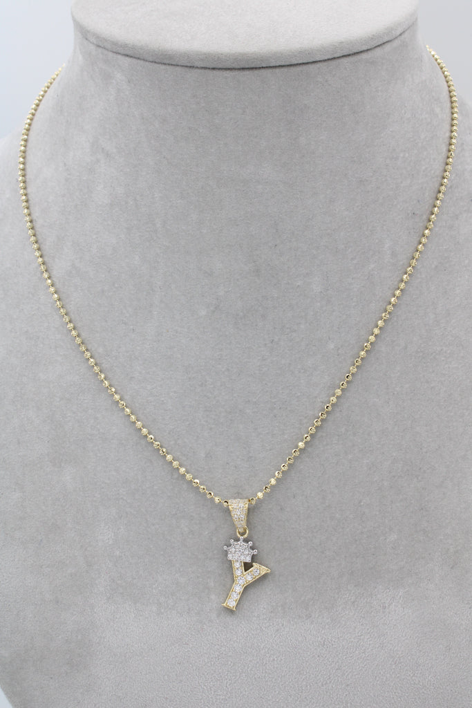 14K Initial (Y) Pendant With Solid Moon Cut Chain JTJ™ - - Javierthejewelernyc