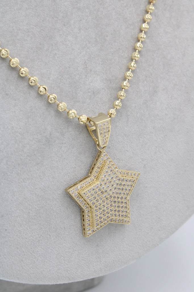 *NEW* 14K Moon Cut Chain W/ Star Pendant  JTJ™ - - Javierthejewelernyc
