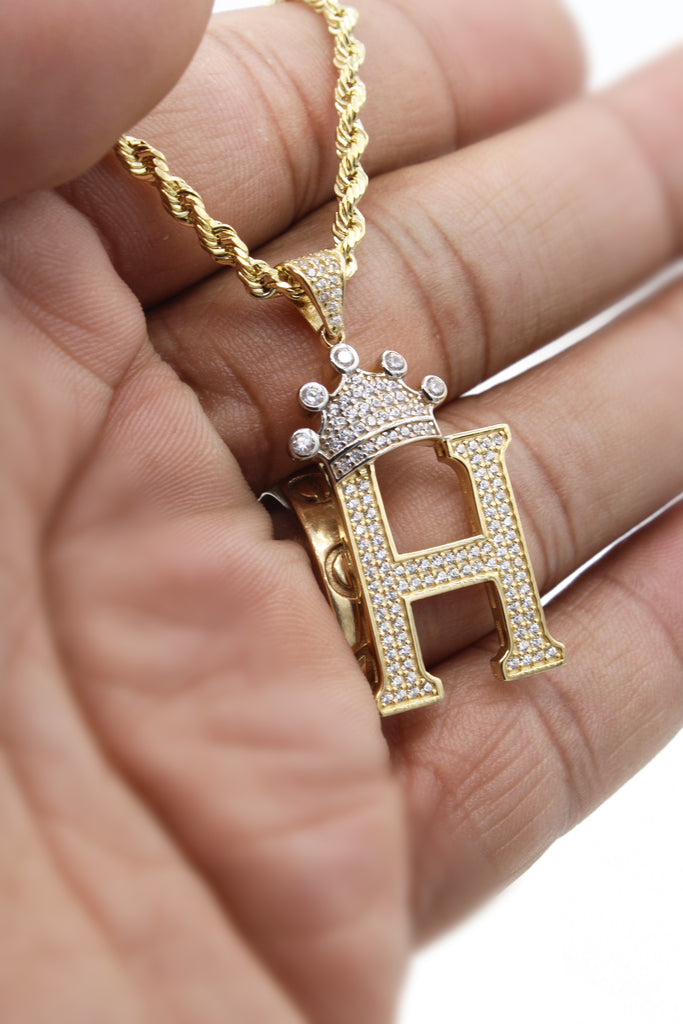 *NEW* 14k Hollow Rope Chain W/ Big Initial Pendant (H) Included-JTJ™ - Javierthejeweler