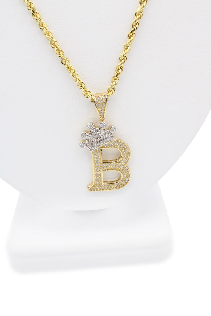 *NEW* 14k Hollow Rope Chain W/ Initial Pendant (B) Included-JTJ™ - Javierthejeweler