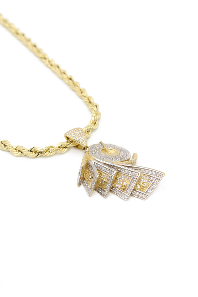 14K *NEW* Hollow Rope Chain W/ Money Roll Pendant  JTJ™ - - Javierthejewelernyc