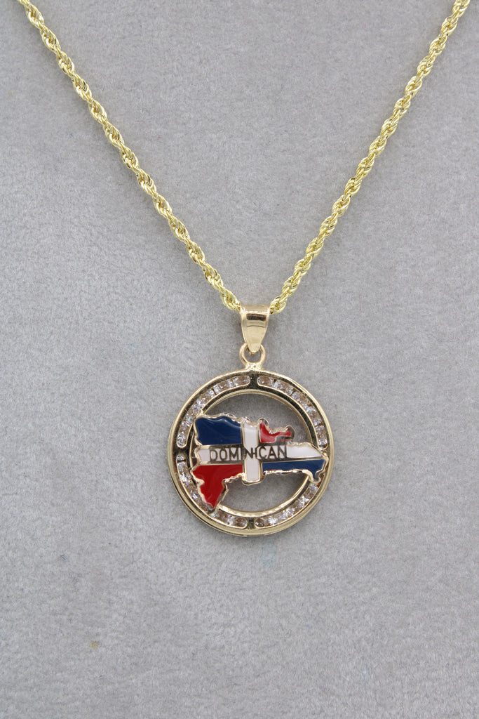 14K Hollow Rope Chain W/ Dominican Map Pendant JTJ™- - Javierthejewelernyc