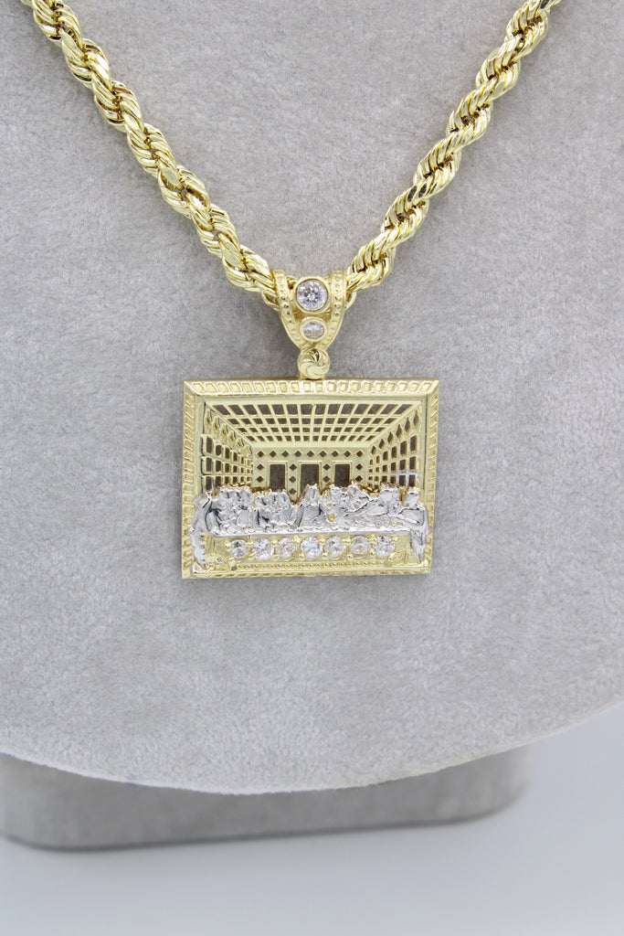 *NEW* 14K Hollow Rope Chain W/ Last Supper Pendant  JTJ™ - - Javierthejewelernyc