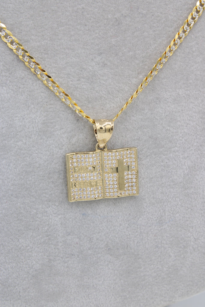 *NEW* 14k Holy Bible Pendant W/ Solid Cuban Chain Included - JTJ™ - Javierthejewelernyc