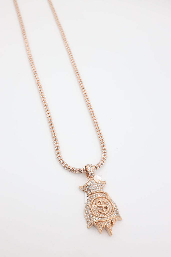 14k Diamond Rose Gold Money Bag Pendant With Rose Gold Iced Chain Included JTJ™ - - Javierthejewelernyc