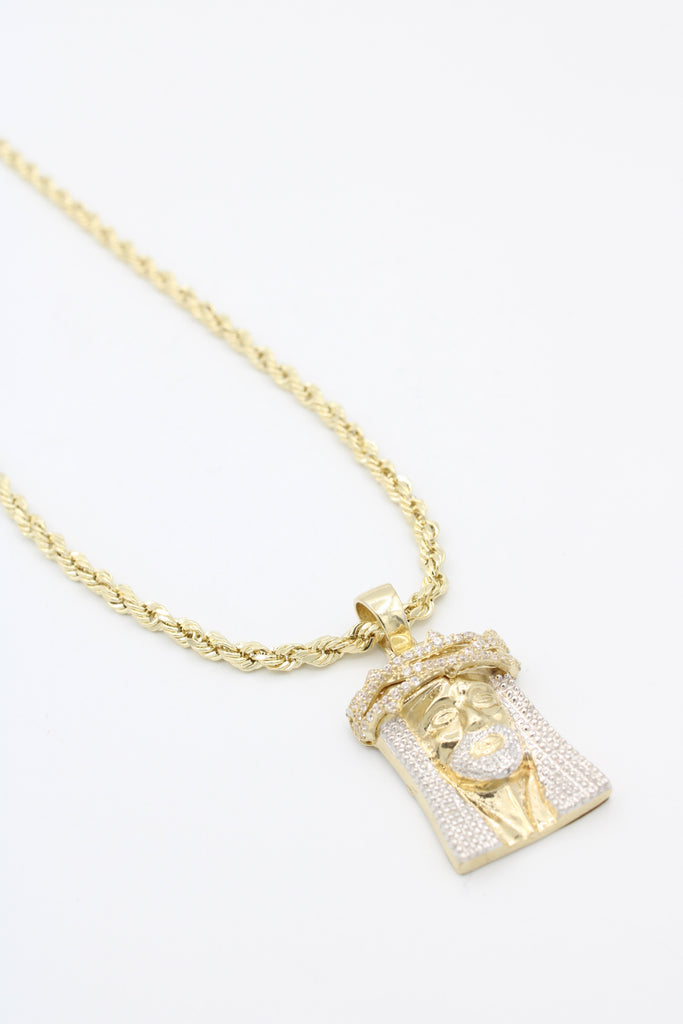 14K *NEW* Hollow Rope Chain W/ Jesus Face Pendant  JTJ™ - - Javierthejewelernyc
