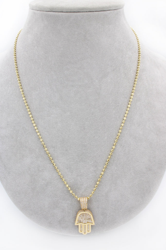 *NEW* 14K Moon Cut Chain W/ Hamsa Pendant  JTJ™ - - Javierthejewelernyc