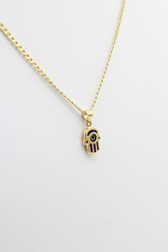 *NEW* 14K Hollow Cuban Chain (Two tone) With Hamsa Pendant JTJ™ - - Javierthejeweler