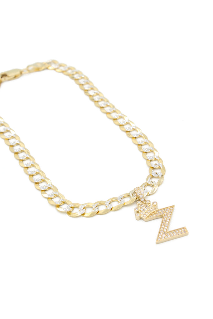 *NEW* 14K Cuban Solid Ankle Bracelet W/ Initial Include JTJ™ - Javierthejewelernyc