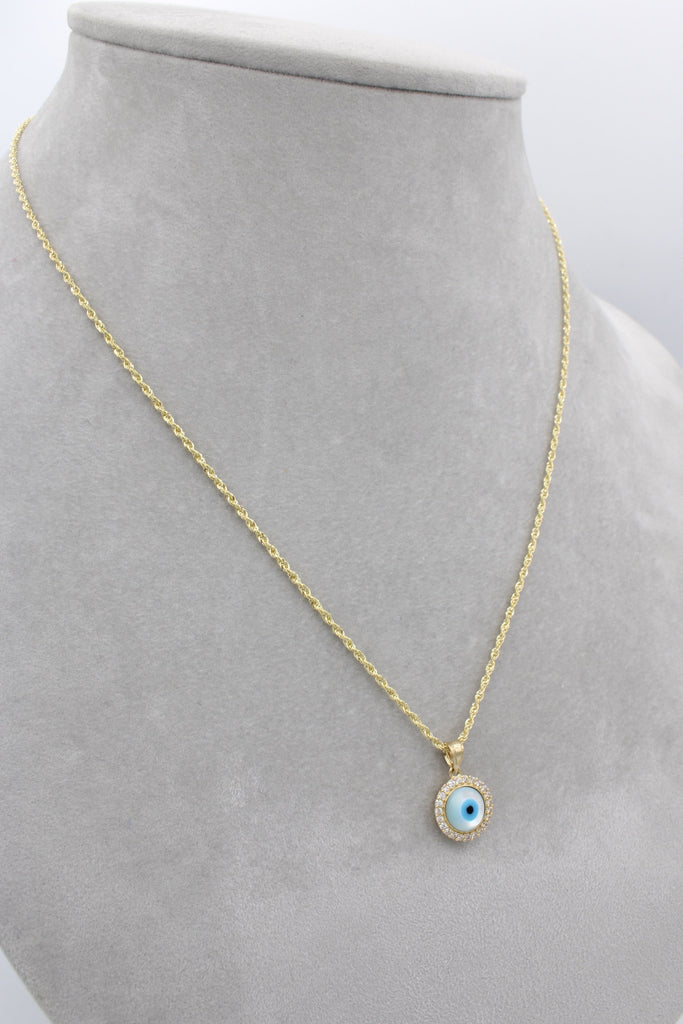 14K Hollow Rope Chain W/ Fatima Eye Pendant J&co™- - Javierthejewelernyc