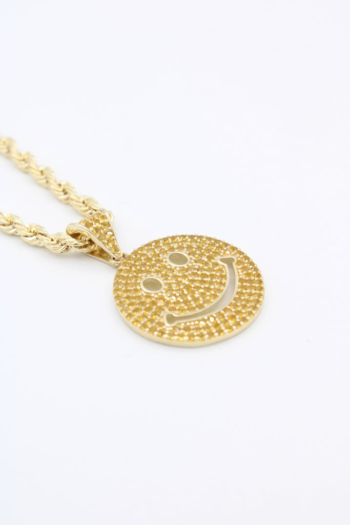 *NEW* 14K Hollow Rope Chain W/ Emoticon Face Pendant (Yellow)JTJ™ - - Javierthejewelernyc