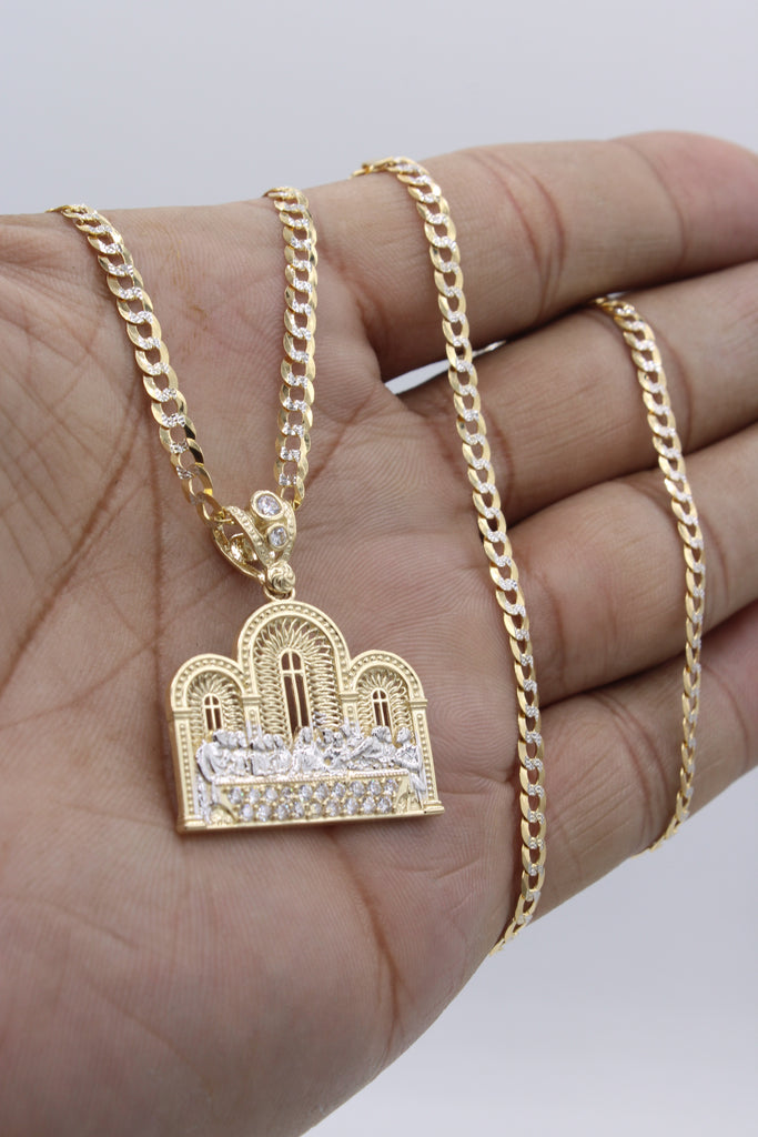 14k Last Supper Pendant With Cuban Chain JTJ™ - - Javierthejewelernyc