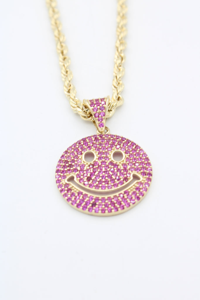 *NEW* 14K Hollow Rope Chain W/ Emoticon Face Pendant (Red)JTJ™ - - Javierthejewelernyc