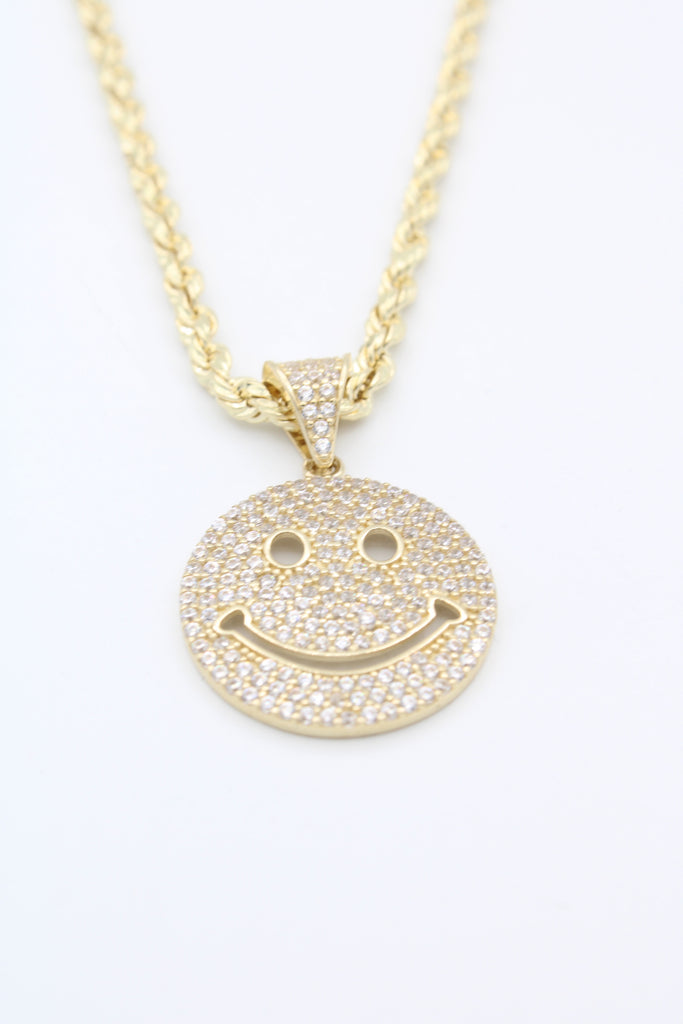 *NEW* 14K Hollow Rope Chain W/ Emoticon Face Pendant (White)JTJ™ - - Javierthejewelernyc