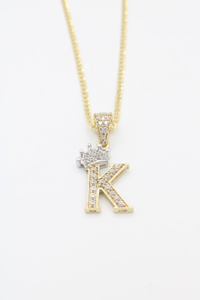 *NEW* 14k Solid Cuban Chain W/ Initial Pendant (K) Included  JTJ™ - Javierthejewelernyc