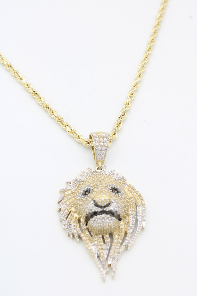 *NEW* 14k Lion Pendant W/ Hollow Rope Chain Included - JTJ™ - Javierthejeweler