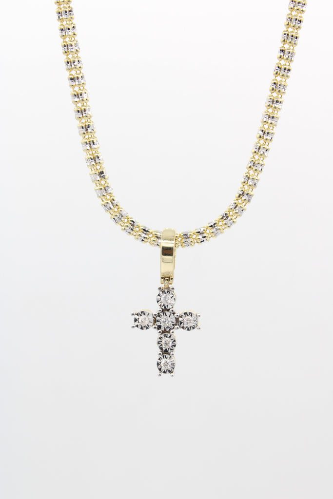 *NEW* 14k Moon Iced Choker With Diamonds 💎 Cross Pendant-JTJ™ - - Javierthejeweler