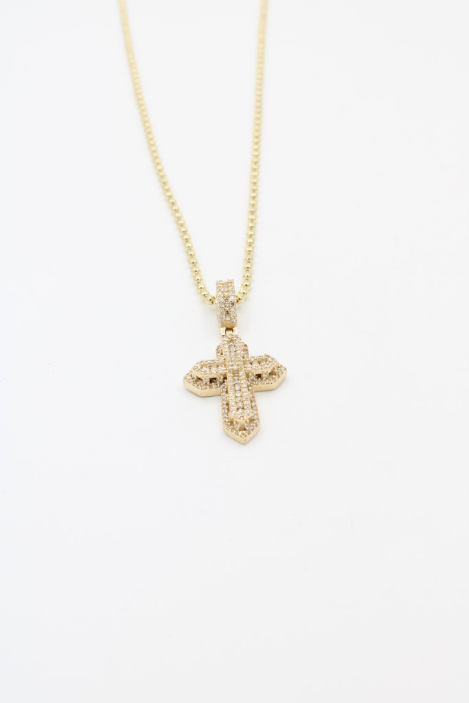 *NEW* 14k Moon Cut Chain W/ Diamonds Cross JTJ™ - Javierthejewelernyc