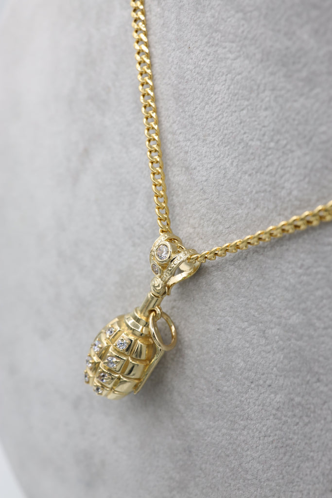 *NEW*14K Hollow Cuban Chain W/ Grenade Pendant JTJ™- - Javierthejewelernyc