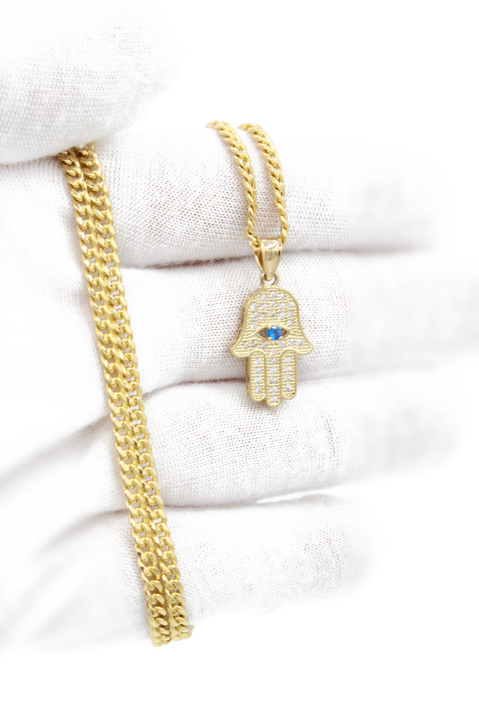 *NEW* 14K Hollow Cuban Chain W/ Hamsa Pendant JTJ-™- - Javierthejeweler