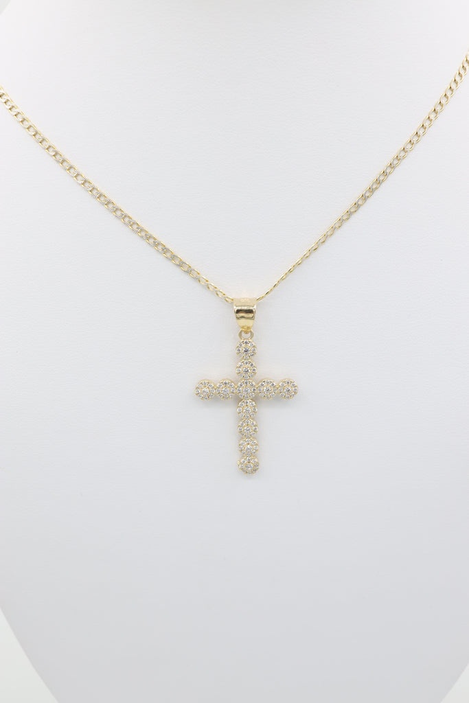 *NEW* 14K Hollow Cuban Chain With Pendant Cross JTJ™ - - Javierthejeweler