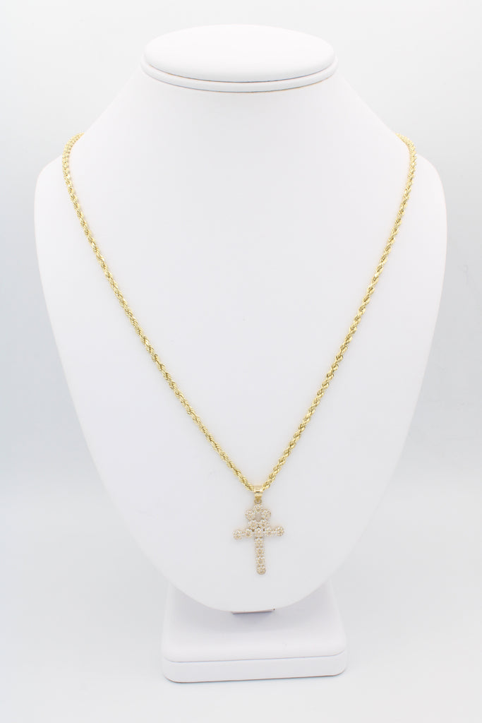 *NEW* 14K Hollow Rope Chain W/ Ankh Cross Pendant J&co™- - Javierthejewelernyc