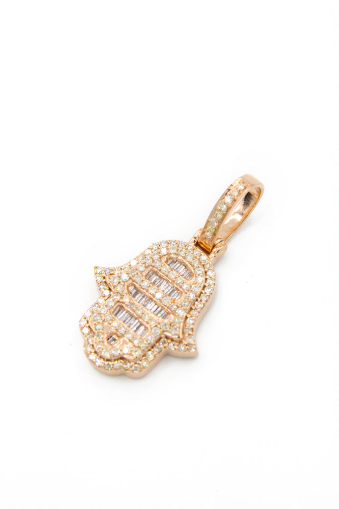 14K Hamsa Diamond Pendant Rose Gold (S) JTJ™ - Javierthejewelernyc