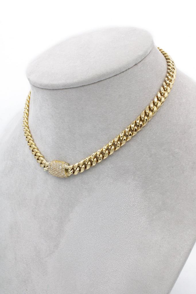 14K Cuban Hollow Choker (cz Lock) JTJ™ - - Javierthejewelernyc