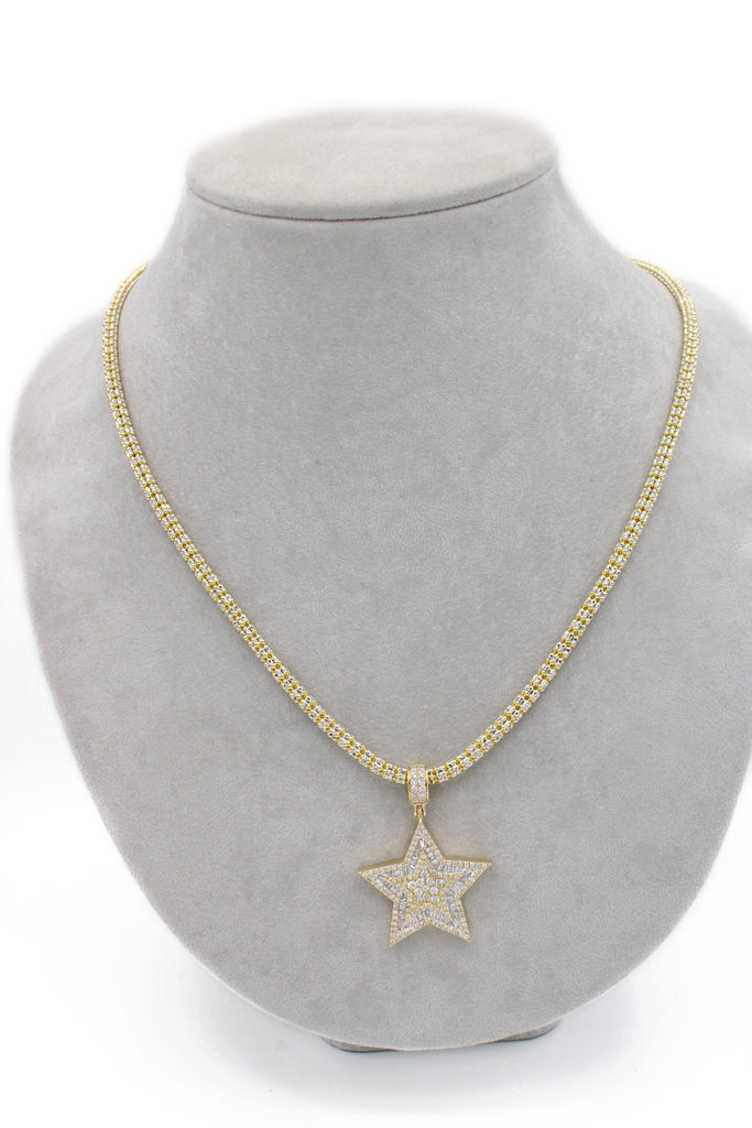 *NEW* 14k Star Diamonds Baguette Pendant With Moon Iced Chain JTJ™ - - Javierthejewelernyc