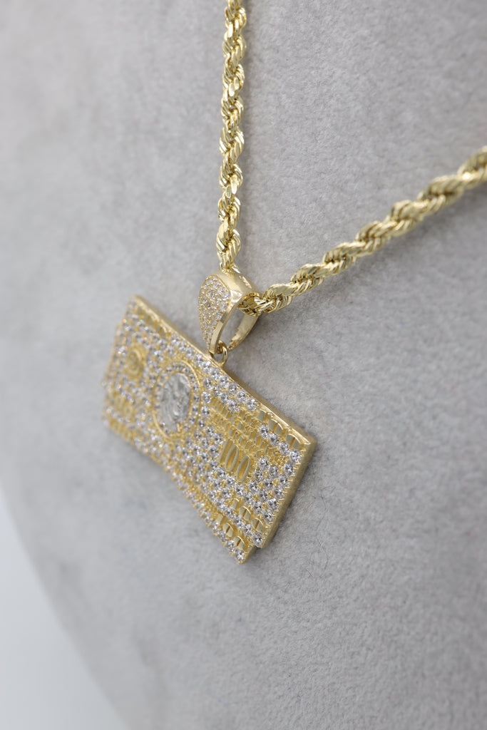 *NEW* 14K Hollow Rope Chain W/  Hundred Bill Pendant  JTJ™ - - Javierthejewelernyc