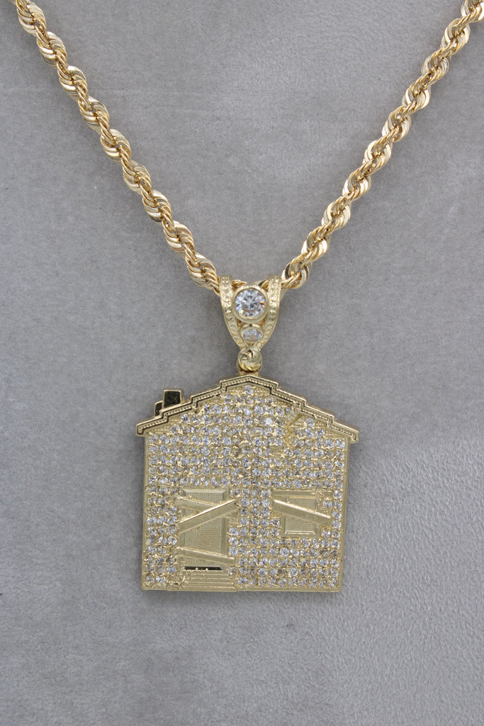 14K Rope Chain With Trap House  Pendant Pendant JTJ™ - Javierthejewelernyc