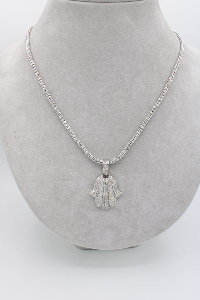 *NEW* 14k White B Hamsa VS Diamond💎 With Moon Iced Chain White JTJ™ - - Javierthejewelernyc