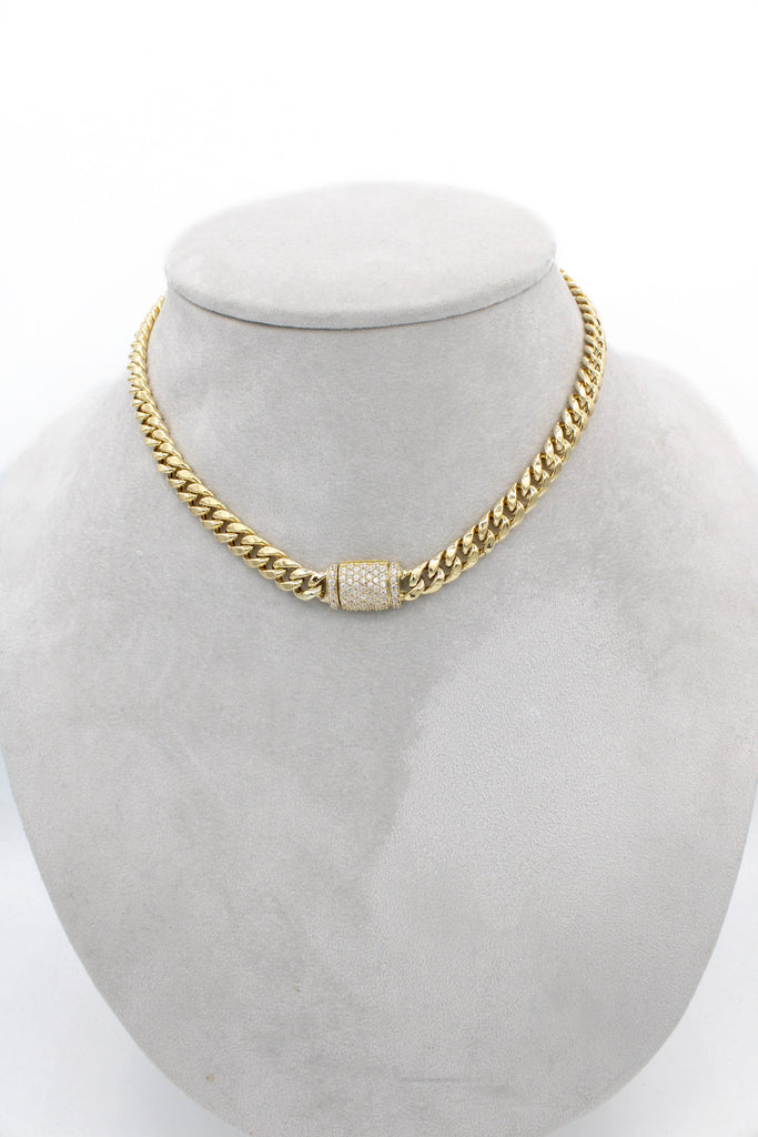 *NEW* 14K Cuban Hollow Choker (cz Lock) JTJ™ - - Javierthejewelernyc