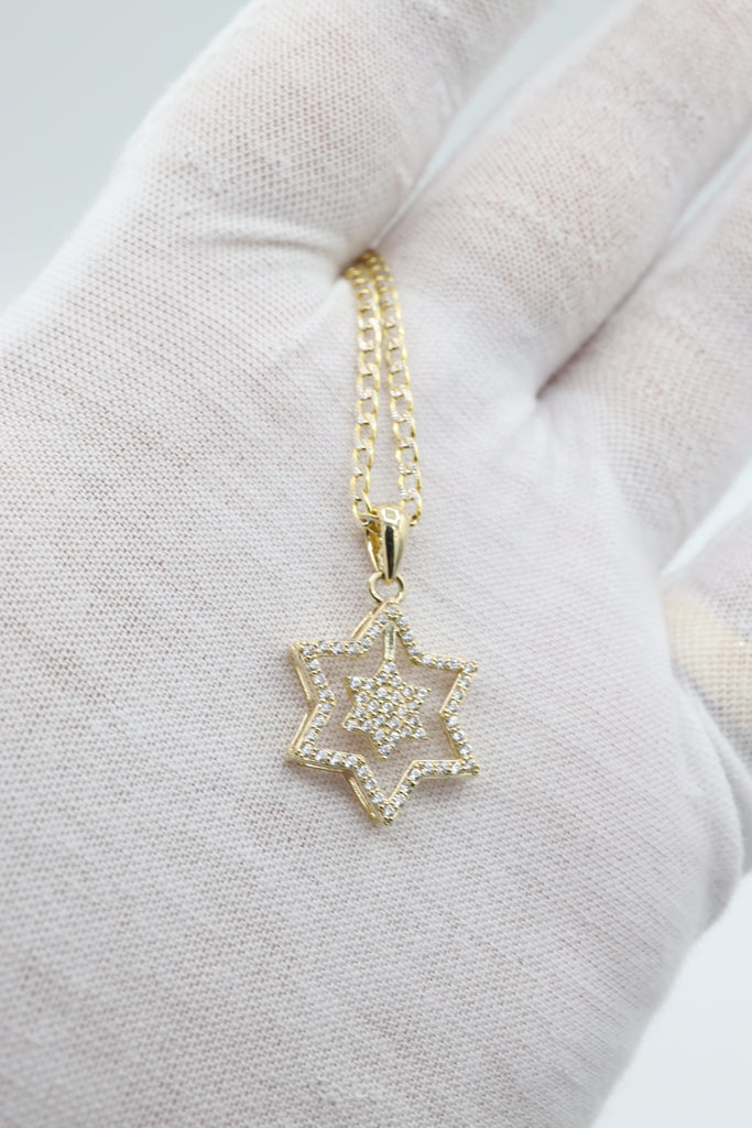 *NEW* 14K Hollow Cuban Chain With Pendant Star JTJ™ - - Javierthejeweler
